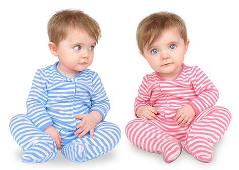 Curious Twin Babies on White
